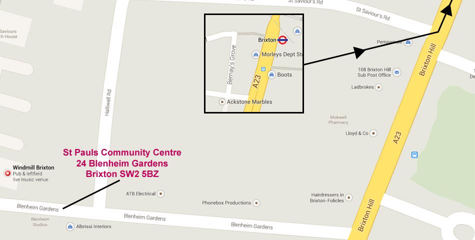 St Pauls Community Centre, 24 Blenheim Gardens, Brixton, SW2 5BZ