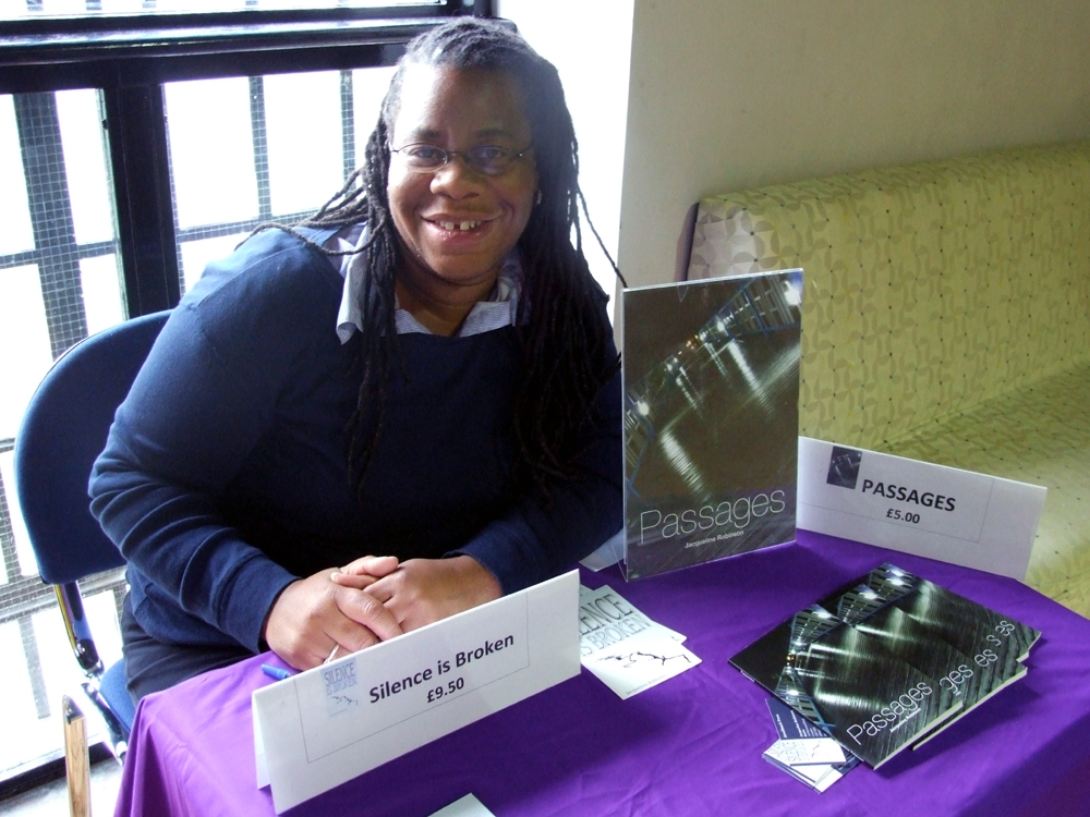 Author / poet Jacqueline preparing to sign books