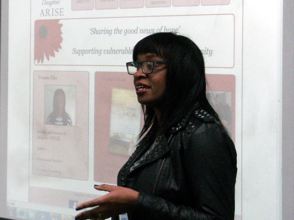 Presenatation at Lambeth College to graphic design students on Daughter Arise